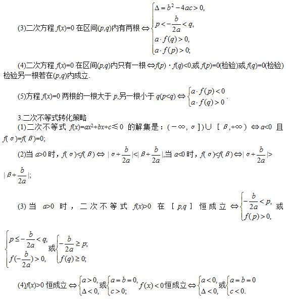 必备考点(三):2020年山东成人高考高数学(一)知识点汇总——一元二次函数、方程及不等式